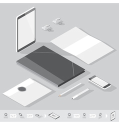 isometric branding mock-up vector image