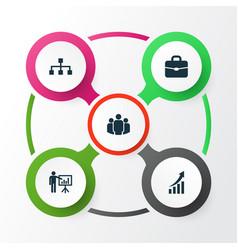 job icons set collection presenting man vector image