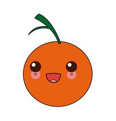 Kawaii citrus orange fruit vitamins nutrition vector