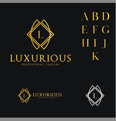 logo template luxurious hotel fashion letter l vector image