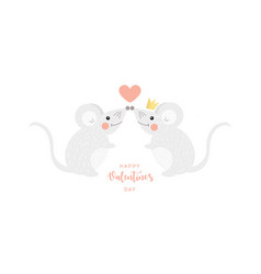 love concept mouse with heart in cartoon style vector image