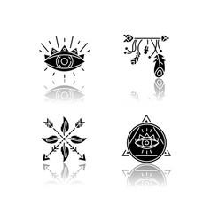 Magical symbols drop shadow black glyph icons set vector
