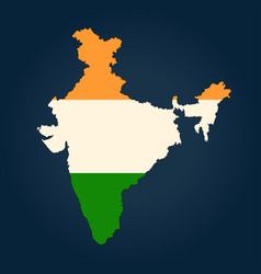 map of india painted in the colors of the national vector image