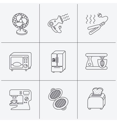Microwave oven hair dryer and blender icons vector image vector image