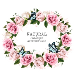 Natural vintage greeting frame with roses vector image