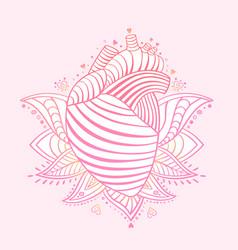 ornamental heart print st valentine card vector image