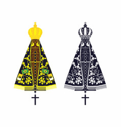 Our lady aparecida set with different colors and vector