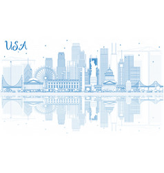 Outline usa skyline with blue skyscrapers vector