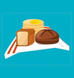 Pas slice bread and breakfast food vector