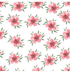 pastel watercolor hand drawn pink flower seamless vector image