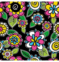 pattern of hand draw flowers vector image