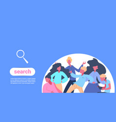 people team magnifying glass icon search concept vector image