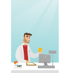 Pharmacist writing a prescription vector