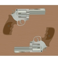 Pistol handgun gun isolated revolver with wood vector
