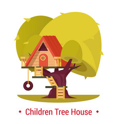 Playground shelter for children tree-house with vector
