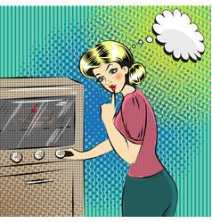 pop art pretty housewife in vector image