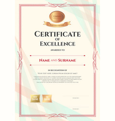 Portrait certificate of excellence template on vector