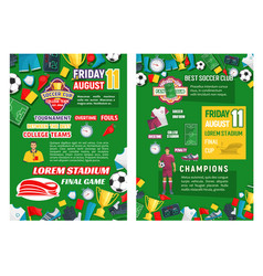 Posters for soccer club game vector