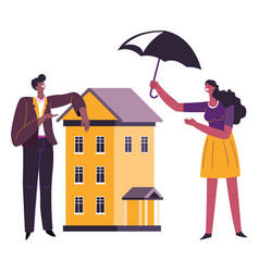 Real estate and property insurance protecting vector