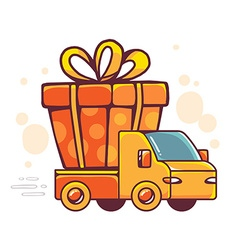 Red car takes great orange gift box with vector