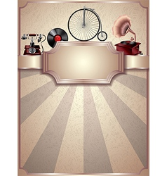 retro objects vertical background vector image