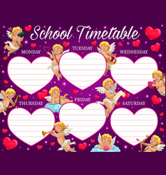 saint valentine day school timetable with amours vector image
