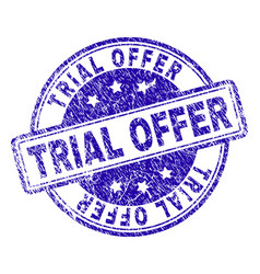 Scratched textured trial offer stamp seal vector
