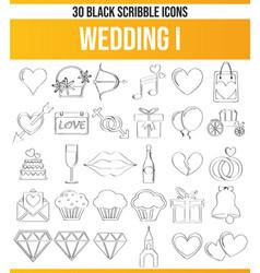 Scribble black icon set wedding i vector