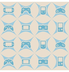seamless background with game consoles vector image