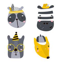 Set four cute animal faces creative animal vector