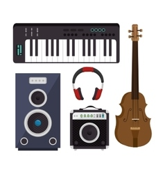 Set musical instruments icons vector