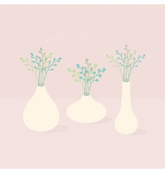 Set of three different vases with wild flowers vector image