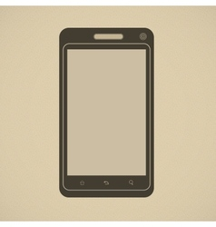 Silhouette of modern smartphone in retro style vector