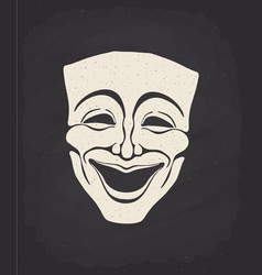 Silhouette theatrical comedy mask vector