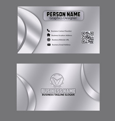 silver color business card template image vector image