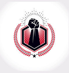 Symbol created using clenched fist athletic vector