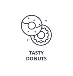 Tasty donuts line icon outline sign linear vector