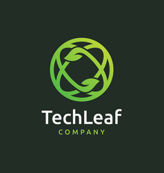 Tech leaf logo design vector