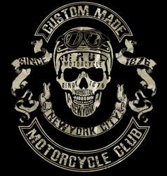 Tee skull motorcycle graphic design vector