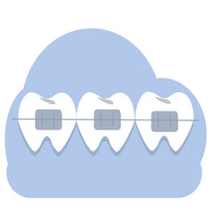 Teeths with braces vector