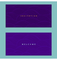 Two invitations cards on a purple background vector