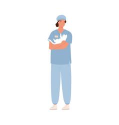 Veterinarian animal physician pet doctor in blue vector