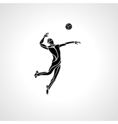 Volleyball player silhouette vector image