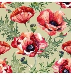 Watercolor poppy flower pattern vector