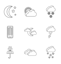 Weather forecast icons set outline style vector