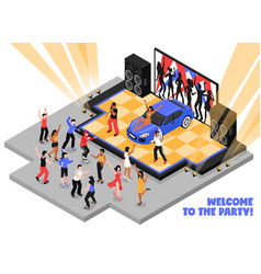 welcome to party isometric vector image