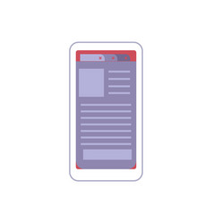 white smartphone with opened electronic book or vector image