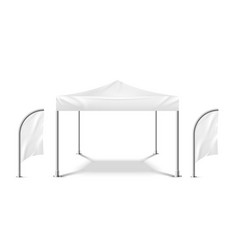 White tent with flags promo marquee mockup beach vector