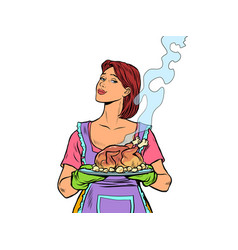 woman with ready fried poultry chicken duck vector image