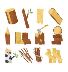 wood industry raw material and production samples vector image